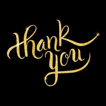 Thank you glitter golden hand lettering. Vector illustration for your design Ilustração