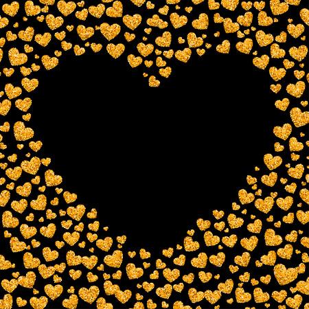 golden heart: Card of glitter golden heart. Vector illustration for your design