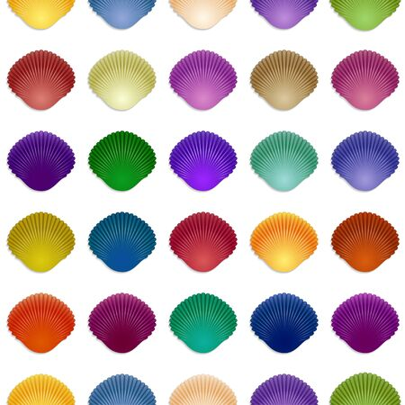 Seamless colorful seashell template background. Vector illustration for your design