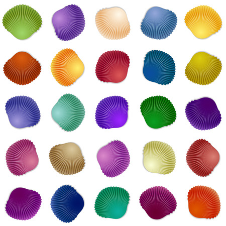 almeja: Seamless colorful seashell template background. Vector illustration for your design
