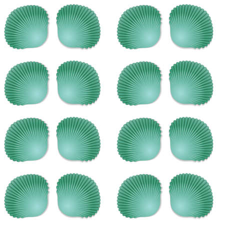 Seamless green seashell template background.