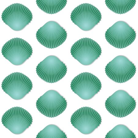 Seamless green seashell template background. Vector illustration for your design