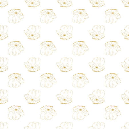 briar: Golden sketch briar decor seamless pattern. Vector illustration for your design Illustration