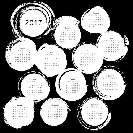 Grunge calendar template 2017 on black background. Vector illustration for your design