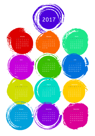 Color grunge calendar template 2017 on white background. Vector illustration for your design