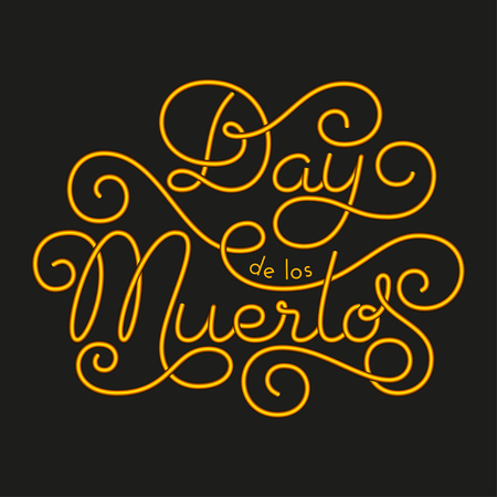 Day de los Muertos glow hand lettering on black background. Vector illustration for your design