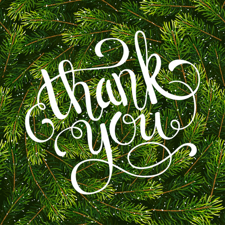 Holiday gift card with hand lettering Thank You on Christmas fir tree branches background. Vector illustration for your design Illustration