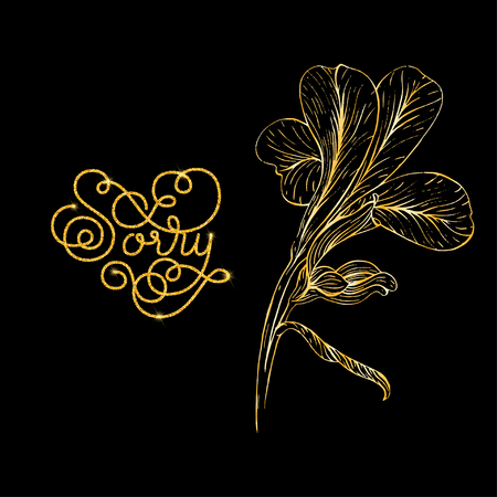 i am sorry: Holiday gift card with golden hand lettering Sorry and bloom silhouette. Vector illustration for your design