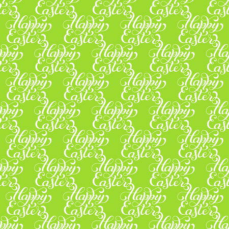 Holiday seamless pattern with hand lettering Happy Easter Illustration