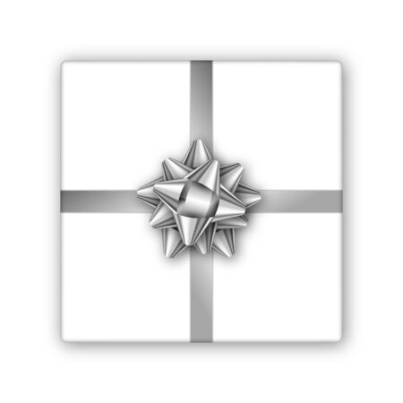 Holiday gift box with silver ribbon and bow template for a business