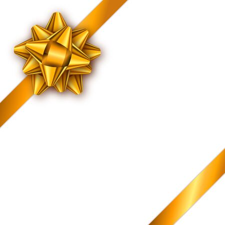 Holiday gift card with golden ribbon and bow. Template for a bus
