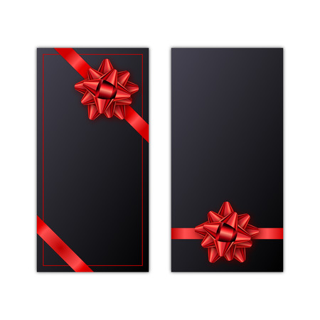 Set Of White Holiday Gift Card With Red Ribbon And Bow Template