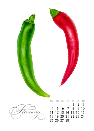 Elegant printable calendar 2019. February. Watercolor peppers. Botanical art. Template for a banner, notebook, cosmetics, perfume or invitation Stock Photo