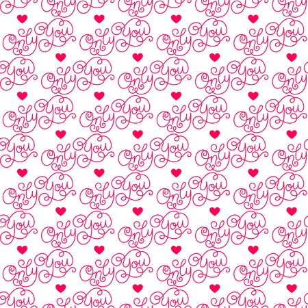 Valentines day. Romantic phrases seamless pattern background. Template for a business card, banner, poster, notebook, invitation with a modern lettering. Vector illustration for your design