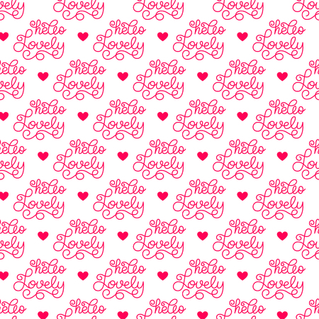 Valentines day. Romantic phrases seamless pattern background. Template for a business card, banner, poster, notebook, invitation with a modern lettering