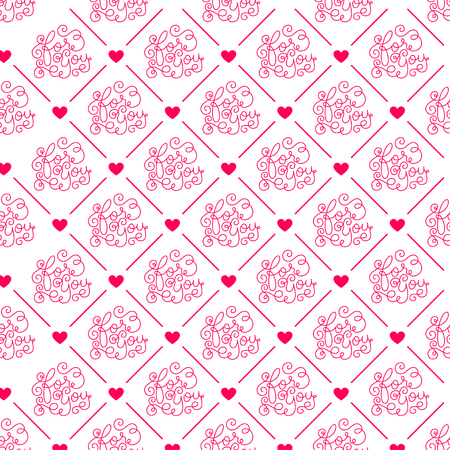 Valentines day. Romantic phrases seamless pattern background. Template for a business card, banner, poster, notebook, invitation with a modern lettering.