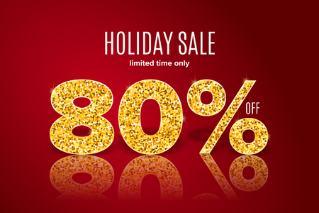 Golden realistic holiday sale 80% off with shadow on red background. Limited time only. Template for a banner, poster, shopping, discount, invitation. Vector illustration for your design