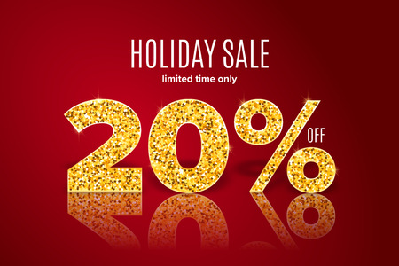 Golden realistic holiday sale 20% off with shadow on red background. Limited time only. Template for a banner, poster, shopping, discount, invitation. Vector illustration for your design