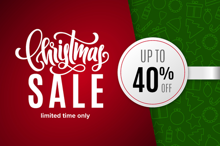 Christmas holiday sale 40% off with paper sticker on background with icons. Limited time only. Template for a banner, poster, shopping, discount, invitation. Vector illustration for your design 向量圖像