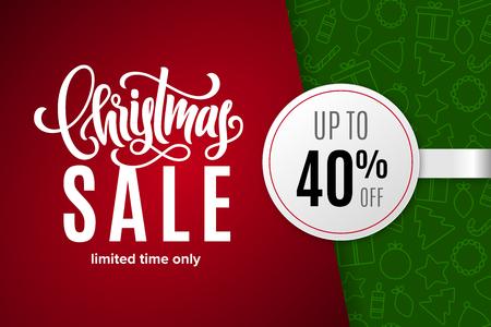 Weihnachtsferien Verkauf 40% Rabatt mit Papieraufkleber auf dem Hintergrund mit Symbolen. Nur für kurze Zeit. Vorlage für ein Banner, Poster, Einkaufen, Rabatt, Einladung. Vektorillustration für Ihr Design Vektorgrafik