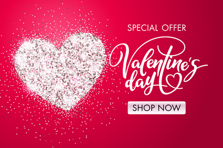 Valentine's day holiday card with shiny heart and lettering. Special offer. Shop now. Template for a banner, poster, shopping, discount, invitation. Vector illustration for your design