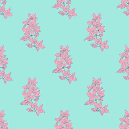 Patrón textil de color transparente. Planta en flor, rama con dibujo de tinta de flor. Ilustración vectorial para su diseño