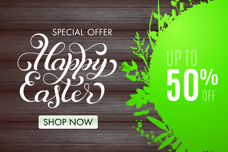 Happy Easter banner with green grass frame and lettering on  wood background. Sale 50 percent off. Limited time only. Template for a banner, poster, shopping, discount, invitation. Vector illustration for your design Ilustrace