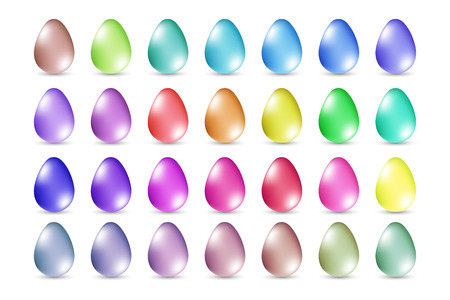 Realistic bright colorful egg set with shadow. Template for a card, banner, poster, invitation. Vector illustration for your design