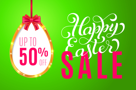 Happy Easter banner with golden egg frame, ribbon, bow and lettering on green background. Sale 50 percent off. Limited time only. Template for a banner, poster, shopping, discount, invitation. Vector illustration for your design Ilustração