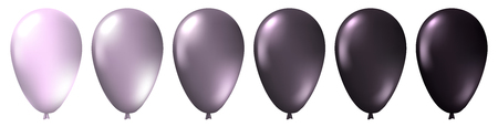 Set of realistic monochrome isolated white, silver and black balloons. Template for a business card, banner, poster, notebook, invitation. Vector illustration for your design Illustration