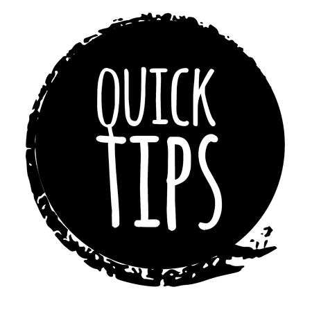 Quick tips badge, helpful tricks logo, label, sticker, emblem and banner isolated on white. Grunge style. Template for a blog, social media, web. Vector illustration for your design Illustration