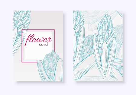 Set of floral cards. Plant in blossom, branch with flower ink sketch. Hyacinth. Fashion floral print for a banner, wrapping, notebook, invitation. Vector illustration for your template design
