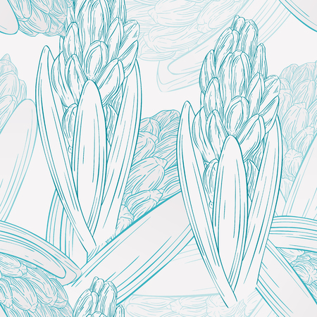 Floral seamless pattern with hyacinth. Plant in blossom, branch with flower ink sketch. Vector illustration for your design Vector Illustratie