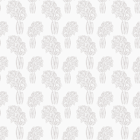 Floral seamless pattern with hyacinth. Plant in blossom, branch with flower ink sketch. Vector illustration for your design
