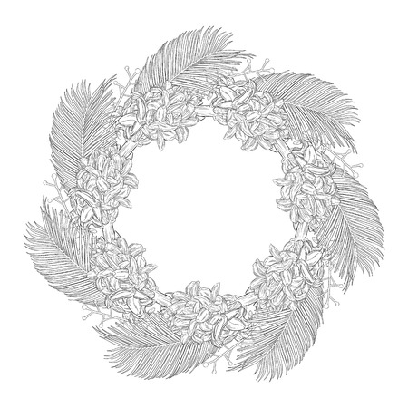 Floral wreath ink sketch. Template print for a business card, banner, poster, wrapping, fabric, notebook, invitation. Vector illustration for your design