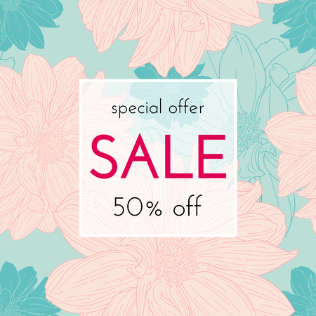 Sele floral cards. Plant in blossom, branch with flower ink sketch. Fashion print for a banner, shopping, discount, invitation. Vector illustration for your social media template design 일러스트
