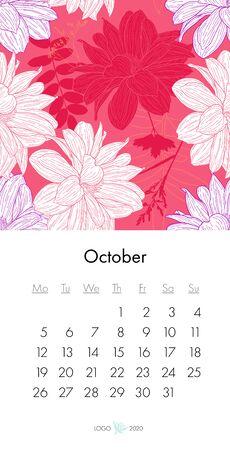 Floral calendar October 2020 with fashion print. Plant in blossom, branch with flower ink sketch. Vector illustration for your template design Ilustração