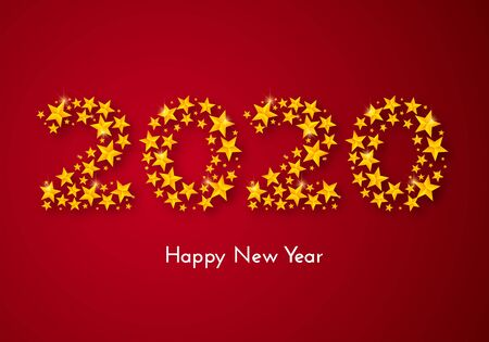 Holiday New Year 2020 gift card with numbers of golden stars on red background. Template for a banner, poster, invitation. Vector illustration for your design