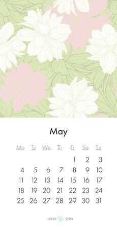 Floral calendar May 2020 with fashion print. Plant in blossom, branch with flower ink sketch. Vector illustration for your template design