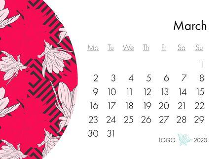 Floral calendar march 2020 with fashion print. Plant in blossom, branch with flower ink sketch. Vector illustration for your template design Ilustração