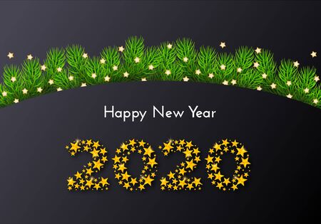 Holiday gift card. Happy New Year 2020. Background with numbers of golden stars, fir tree branches on dark background. Template for a banner, poster, invitation. Vector illustration for your design