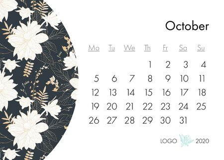 Floral calendar october 2020 with fashion print. Plant in blossom, branch with flower ink sketch. Vector illustration for your template design