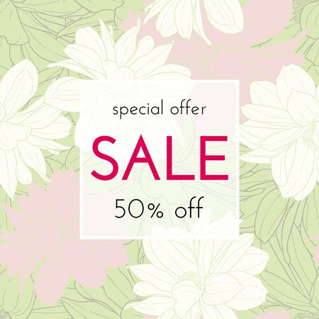 Sale floral cards. Plant in blossom, branch with flower ink sketch. Fashion print for a banner, shopping, discount, invitation. Vector illustration for your social media template design