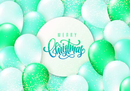 Merry Christmas lettering. Greeting card. Vector illustration