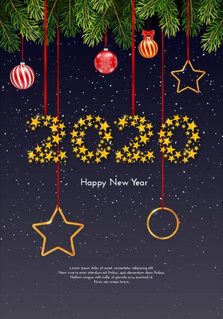 Holiday gift card. Happy New Year 2020. Vector