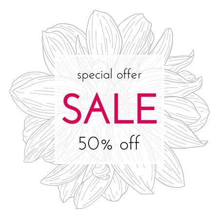 Sale floral cards. Flower ink sketch. Vector