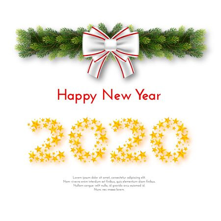 New Year 2020. Holiday gift card with numbers of golden stars, fir garland and bow on white background. Template for a banner, poster, invitation. Vector illustration for your design
