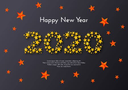 Happy New Year 2020. Holiday gift card. Numbers of golden stars on dark background. Template for a banner, poster, invitation. Vector illustration for your design Ilustração