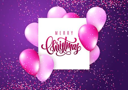Merry Christmas lettering. Elegant greeting card. Vector Ilustração