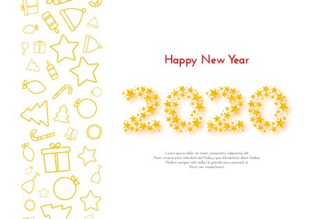 Holiday gift card. Happy New Year 2020. Border with golden Christmas icons on white background. Template for a banner, poster, invitation. Vector illustration for your design